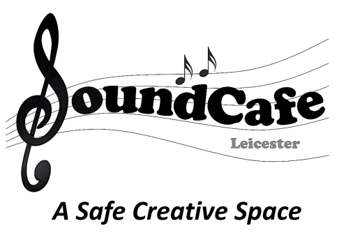 SoundCafe Leicester, A Safe Creative Space - logo, featuring the S at the start looking like a musical treble clef, on a curling musical stave with two little musical notes, in a round and fat black serif font, with the tagline below in a simpler sans-serif font