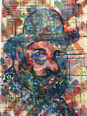 Painting of a man hidden behind brush strokes