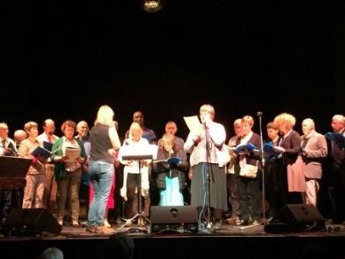 Choir singing on stage