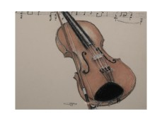 Picture of a Violin & Music done in Pastels
