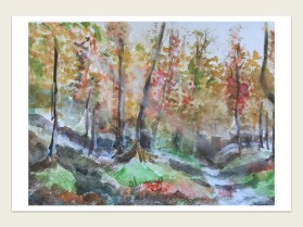 Watercolour painting of autumn trees