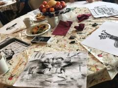Charcoal art in progress