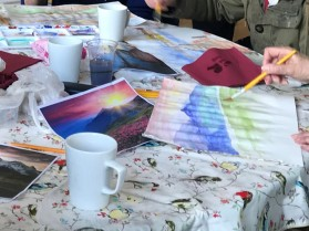 Watercolour painting being done